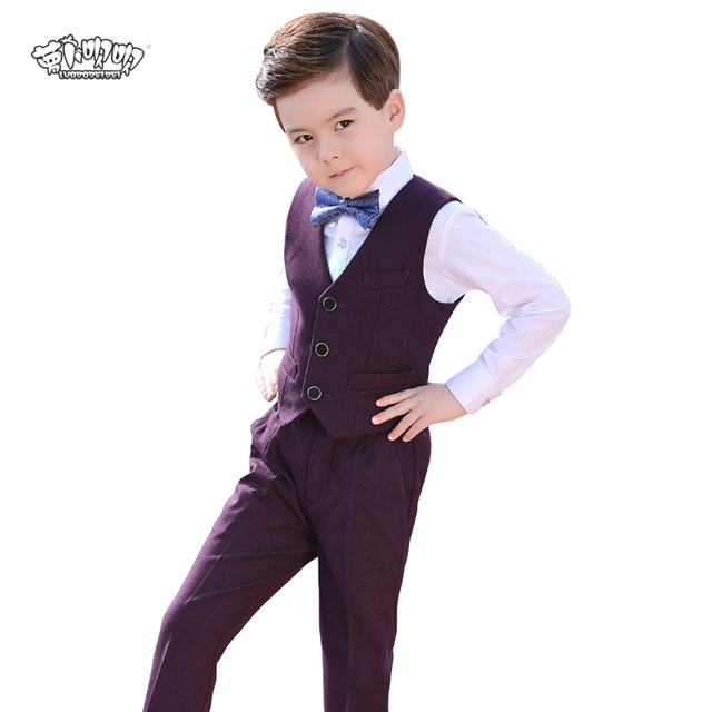 af0e902082d6 Flower Boys Brand Formal School Suit Wedding Birthday Dress Gentleman Kids  Waistcoat Shirt Pant Bowtie 4Pcs ceremony Costume N73