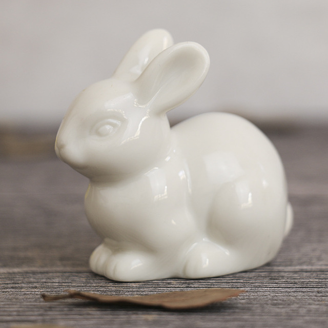 Lovely ceramic rabbit family hare nordic style white home decoration desktop ornaments big ear Furnishing craft fairy landscape 4