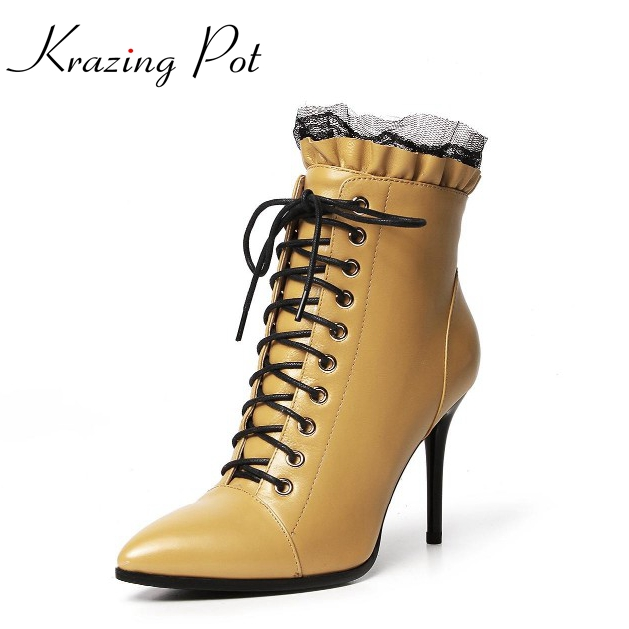 2018 New fashion winter genuine leather pointed toe thin high heel lace solid women ankle boots shoes simple style pluse size L original quality a1398 bottom case d cover for apple macbook retina 15 2013 2014 year page 2
