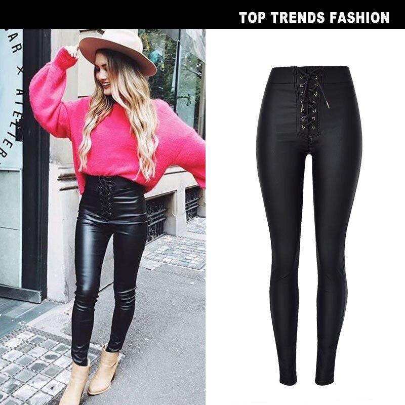Punk Black High Waist Slim Stretch Skinny Jeans Women PU Coated Pants 2726