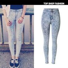 Cockcon женщины карандаш джинсы случайные джинсы женщин старинные высокая талия стретч тощий карандаш брюки femme тонкий джинсы t-sl021