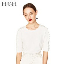 HYH Haoyihui Spring Knitted Sweater Round Neck Cashmere Female 2019 Women Sweaters Pullovers Autumn Half Sleeve Tops