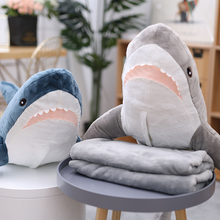 Shark Pillow Quilt Dual Use Coral Fleece Doll Car Blanket