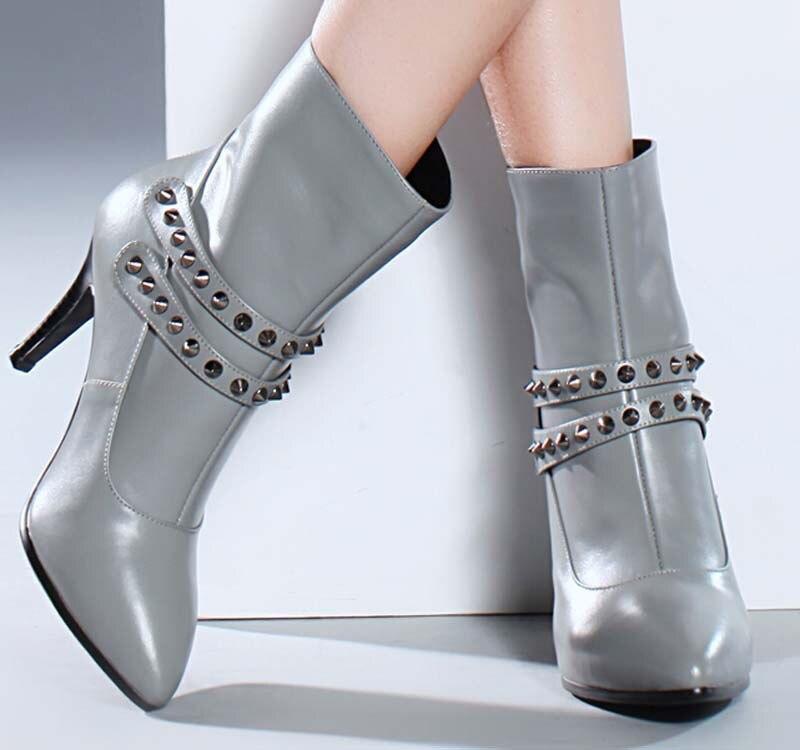 ФОТО ENMAYER new women winter warm fashion ankle boots 9cm high heels platform boots for women Martin boots Pointed toe zipper sale