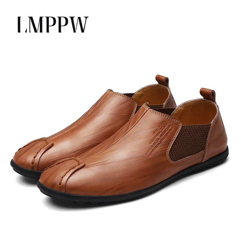 British Slip on Men Loafers Genuine Leather Men Shoes Luxury Brand Soft Boat Driving Shoes Comfortable Men Flats Moccasins 2A slip-on shoe
