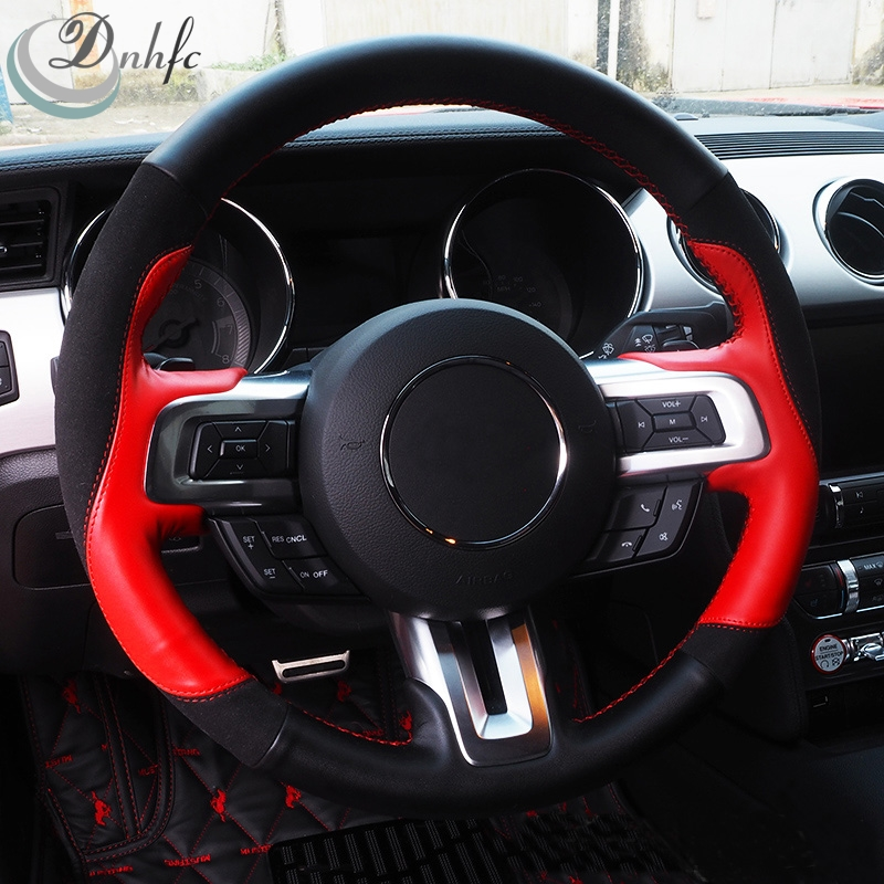 sew on genuine leather car steering wheel cover car accessories for ford mustang 2015 2016 2017. Black Bedroom Furniture Sets. Home Design Ideas