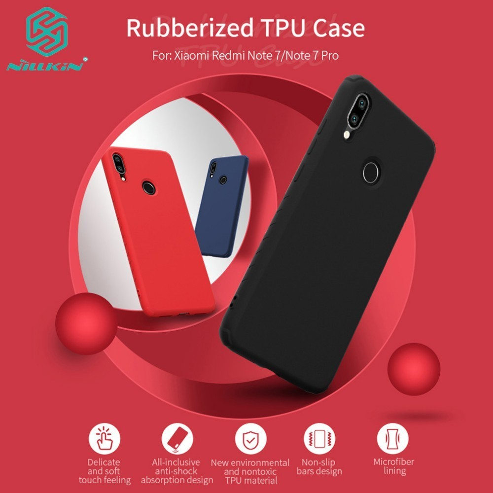 For <font><b>Xiaomi</b></font> <font><b>Redmi</b></font> Note <font><b>7</b></font> Note 7S Case <font><b>Back</b></font> <font><b>Cover</b></font> NILLKIN Rubber Wrapped Anti-Shock TPU Protective Case for <font><b>Redmi</b></font> Note <font><b>7</b></font> Pro image
