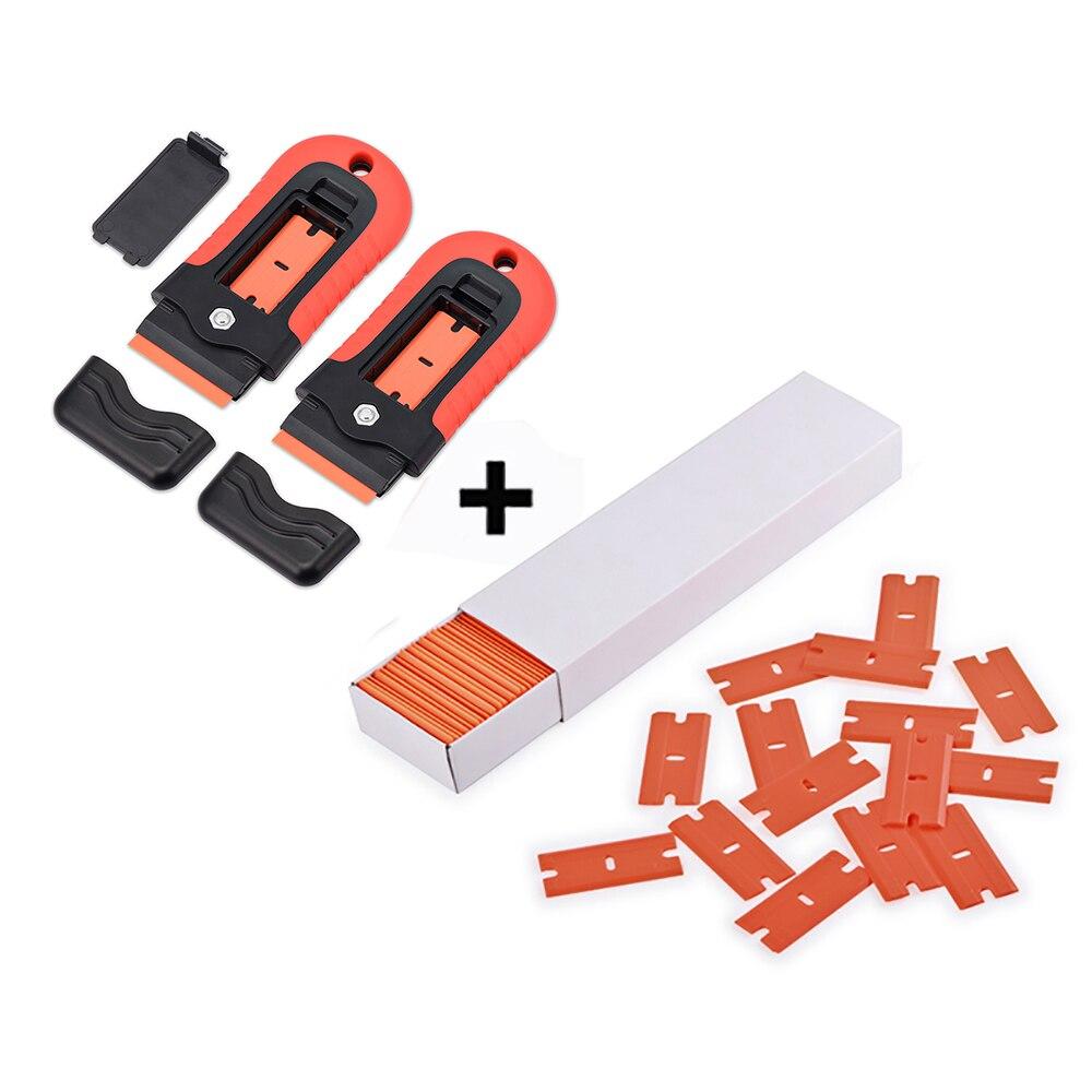 EHDIS 2pcs Carbon Fiber Film Razor Scraper With 100pcs Plastic Blades Vinyl Car Wrap Squeegee Auto Accessories Glass Clean Tool