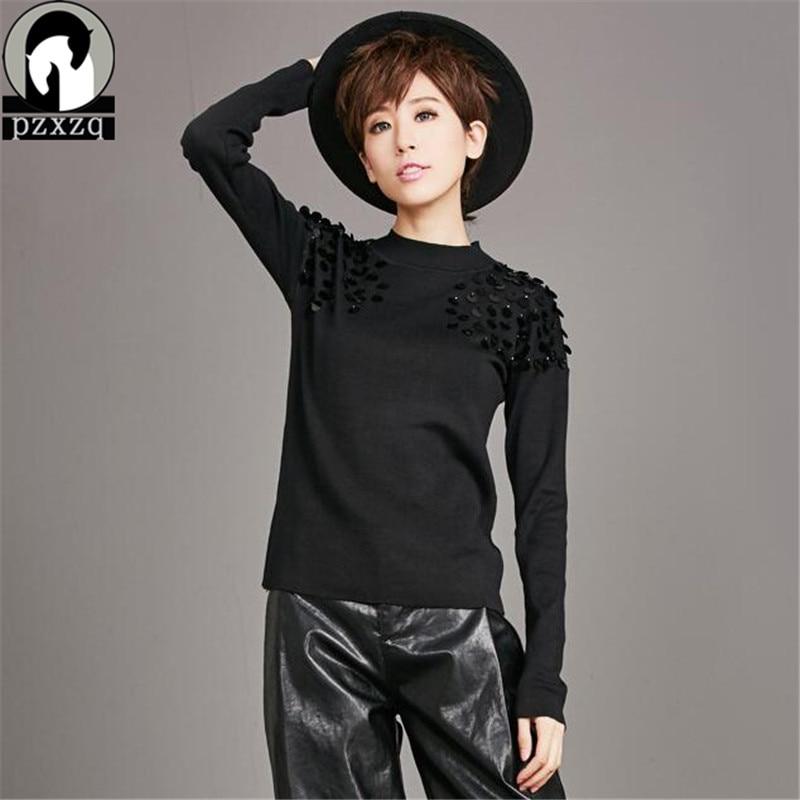 Women Black Brand Sequin Design Turtleneck Sweater Women 2019 Autumn Winter Celebrity Haute Couture Casual Knitted Pullover