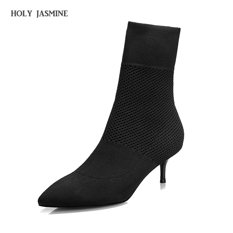 2018 Autumn New Fashion Ankle Elastic Sock Boots Chunky High Heels Stretch Women Autumn Sexy Booties Pointed Toe Women shoes цена 2017