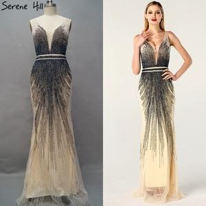 Image 2 - 2020 luxe sans manches col en v Sexy robes de soirée Dubai Design perles robe formelle sereine colline LA60743