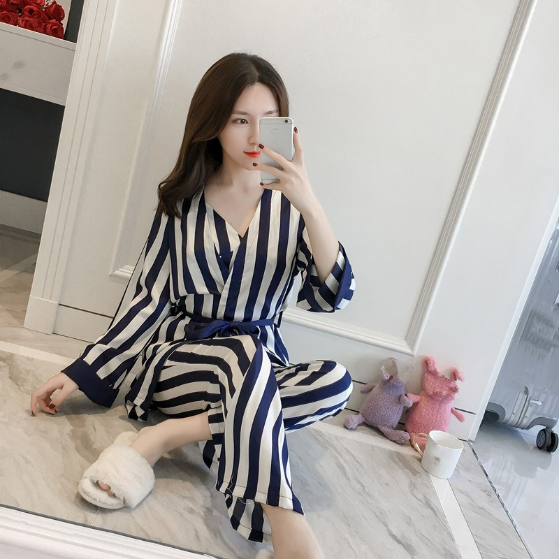 Sexy 3 PCS Robe Pajamas Pants Sets Women Silk Striped Ladies Sleep