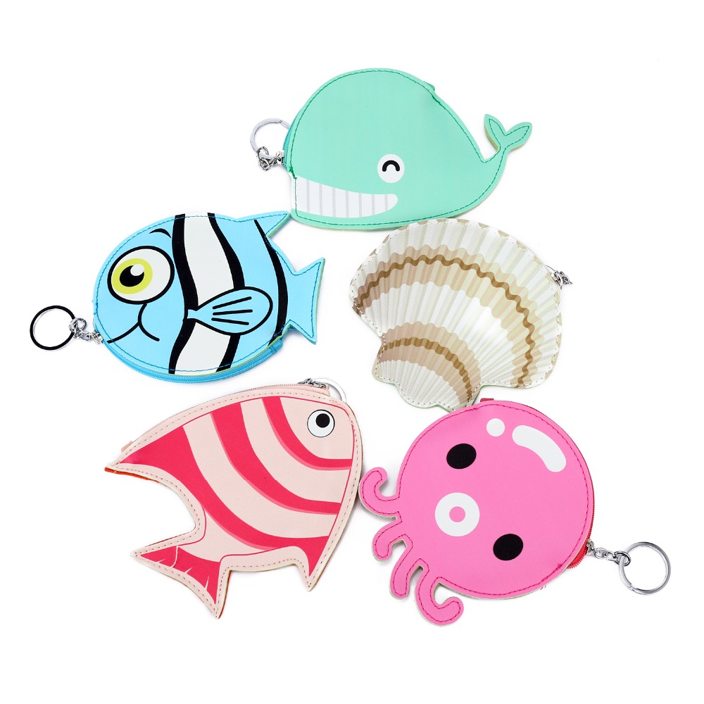 2pcs/lot Bentoy Cute Animal Octopus Fish Shell Coin Money Wallet Bag Key Chain Leather Purse Pouch For Women Zipper Purse