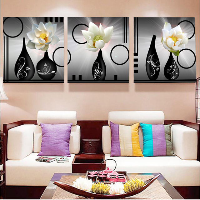 No Frame Pictures 3PCS Modular Wall Picture Art Painting Of Roses Tulips Print On Canvas Paintings Posters Living Room Bedroom