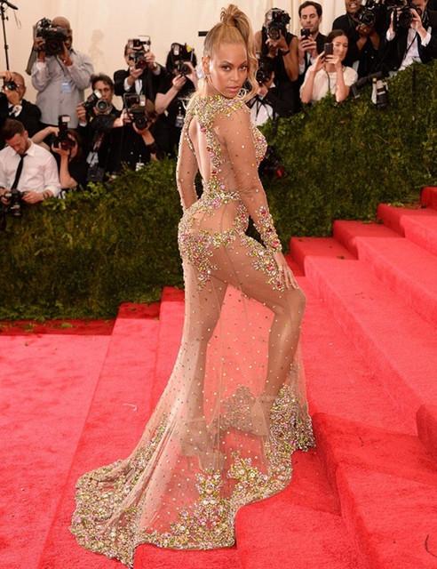 Envío Gratis Beyonce Reunió Bola de Oro opacidad Gasa de Múltiples Cuentas de Cristal de Manga Larga vestidos de La Celebridad