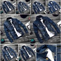 Fashion Vintage Spring Autumn Men Jeans Jacket Long Sleeve Patchwork Denim Jackets Coat Man Outwear M