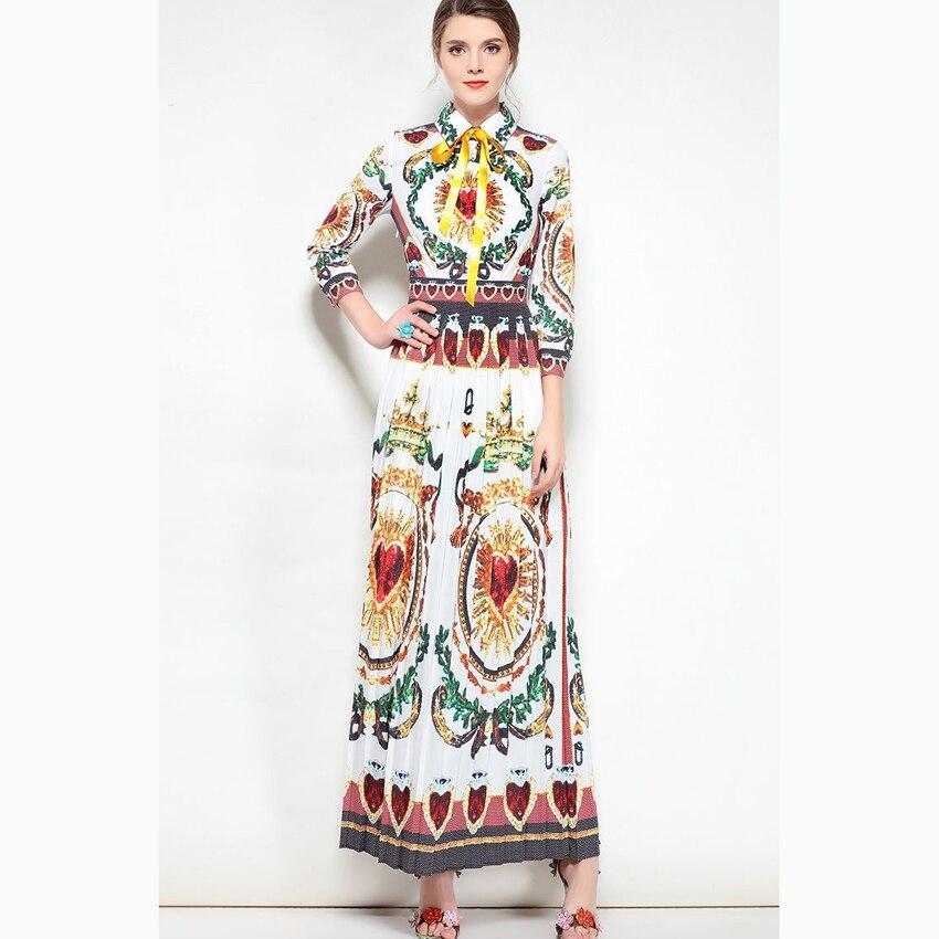 HIGH QUALITY Newest Fashion 2018 Designer Runway Shirt Dress Women's 3/4 Sleeve Blouse Collar Vintage Printed Maxi Long Dress high collar long sleeve printed dress