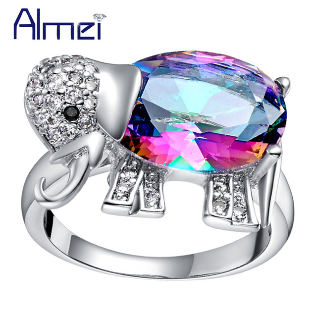 Almei Cute Silver Color Rings for Women Crystal Cute Elephant Dieren Ring Gifts Blue Rainbow Stone Animal Children Jewelry J378