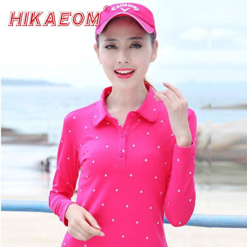 Autumn Polo Shirt Female 2018 New Women Slim Thin Snow Printed Dot Polo Shirt Casual Women Long Sleeve Polo Shirt Female