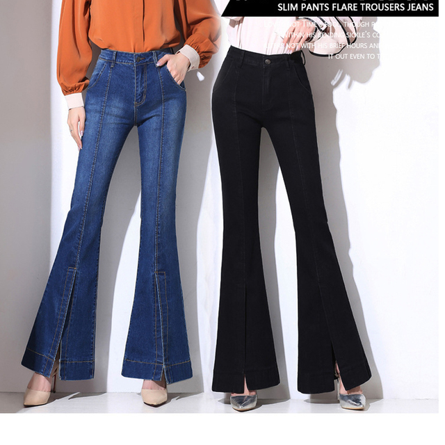 Blue Black Plus Size Wide Leg Jeans Woman Split Denim Trousers