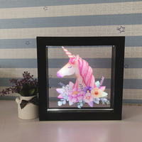 DELICORE Frame with white LED Light Magic Unicorn head light up picture frame 3D Illusion Wall Decoration Lamp USB and Battery