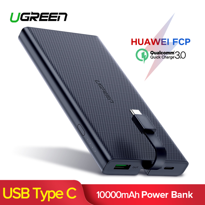 Ugreen Quick Charge 3.0 Banco Do Poder 10000 mah USB C Poverbank Powerbank Carregador de Bateria Externa Para Celulares Tablets