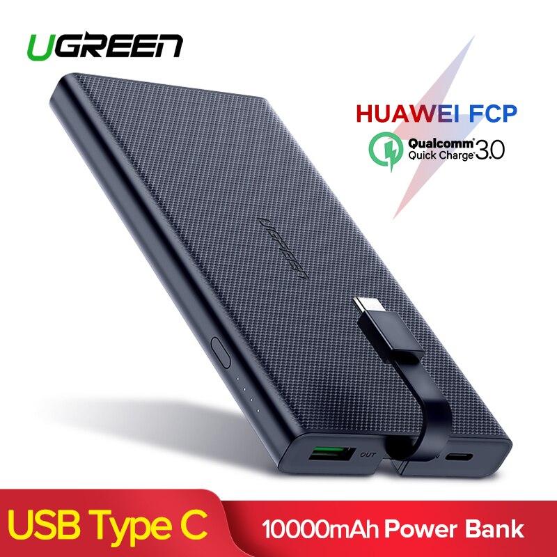 Ugreen banco de potencia 10000 mAh portátil tipo C la carga rápida banco de energía para iPhone XS 8 cargador de batería externa para teléfono pover banco