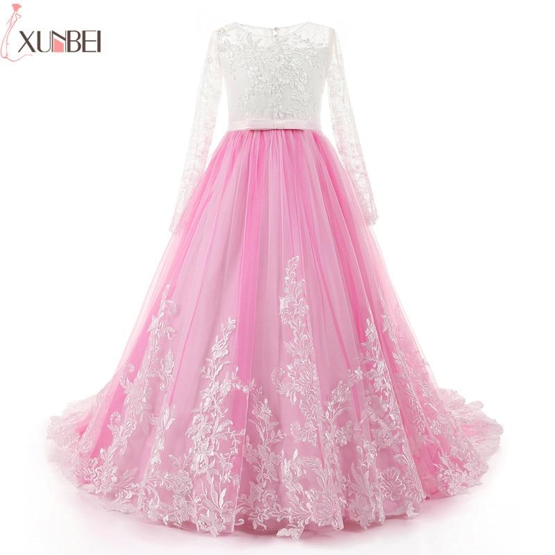 Pink   Flower     Girl     Dresses   Court Train Long Sleeves 2019 Lace Appliques Pageant   Dresses   For   Girls   Lace Communion Princess   Dress