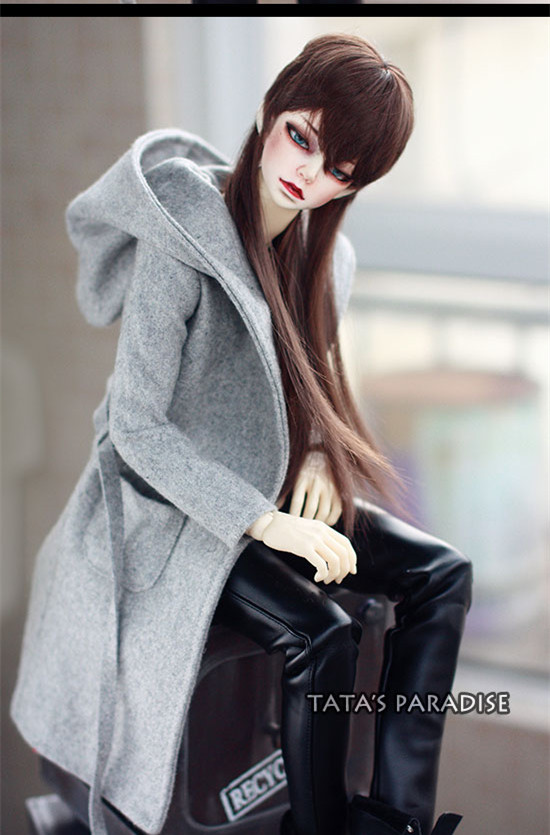 Handsome Grey Woolen Coat + Belt  for BJD  1/3 SD10 SD13,SD17, Uncle SSDF SD Luts DOD DZ AS Doll Clothes CMB107 casual leather jacket coat for bjd doll 1 6 1 4 msd 1 3 uncle ip soom doll clothes cw52
