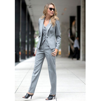 womens formal wear pantsuits Light Gray Slim Fit Women Business Suits Formal Office Suits Work Female 2 Piece