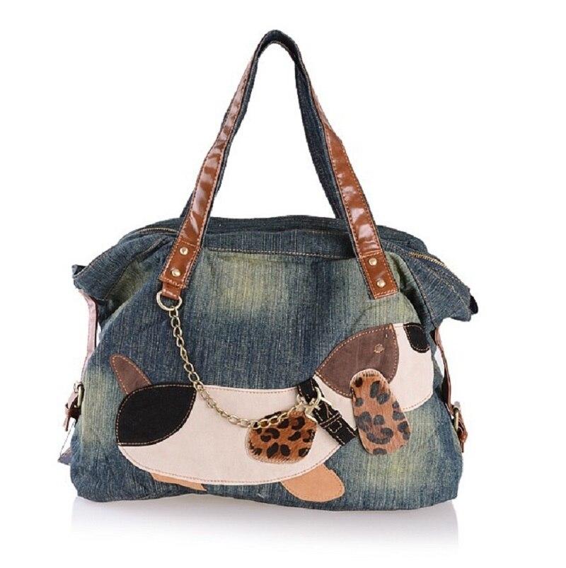 Nueva moda Vintage perro apliques sólido Jean Denim mujer señora bolsos de hombro Tote carteira bolsa feminina envío gratis