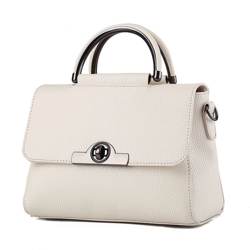 Fashion Beige PU Women Handbag Office Lady Shoulder Bag Crossbody Messenger Twist Turn Lock Cusual цена