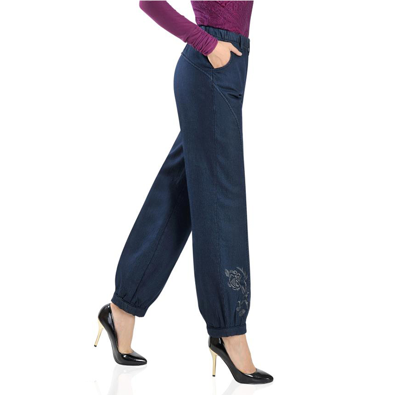 Free Shipping Women Winter Plus Velvet Jeans Lady Embroidery Fleece trousers Lantern jeans Pants Large Size