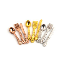 12PCS Fork Knife Soup Spoon Tableware Simulation Kitchen Food Furniture Toys 1:12 Dollhouse Miniature Accessories(China)