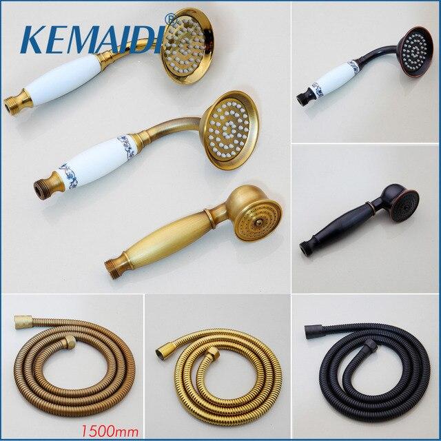 KEMAIDI Brass And Ceramic Handle Shower Rain Spray Shower Water Saving Shower Head For Bathroom Accessories Gold shower Hose