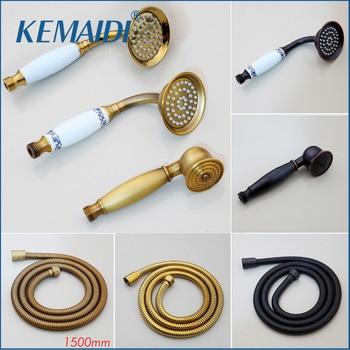 KEMAIDI latón y mango de cerámica ducha lluvia espray ducha ahorro de agua ducha cabeza para accesorios de baño manguera de ducha de oro