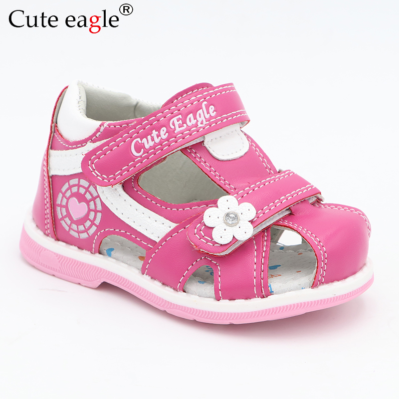 Cute Eagle Summer Girls Orthopedic Sandals Pu Leather Toddler Kids Shoes for Girls Closed Toe Baby