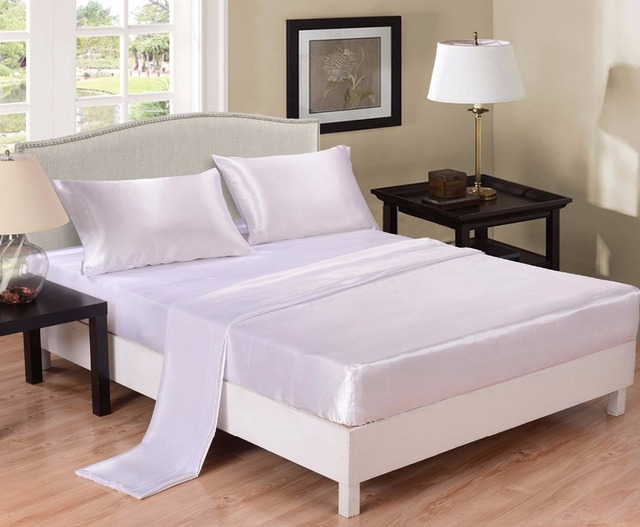 White Satin Bed Sheet Set Wrinkle Free Super Silky Soft Luxury Flat Sheet  Fitted Sheet U0026