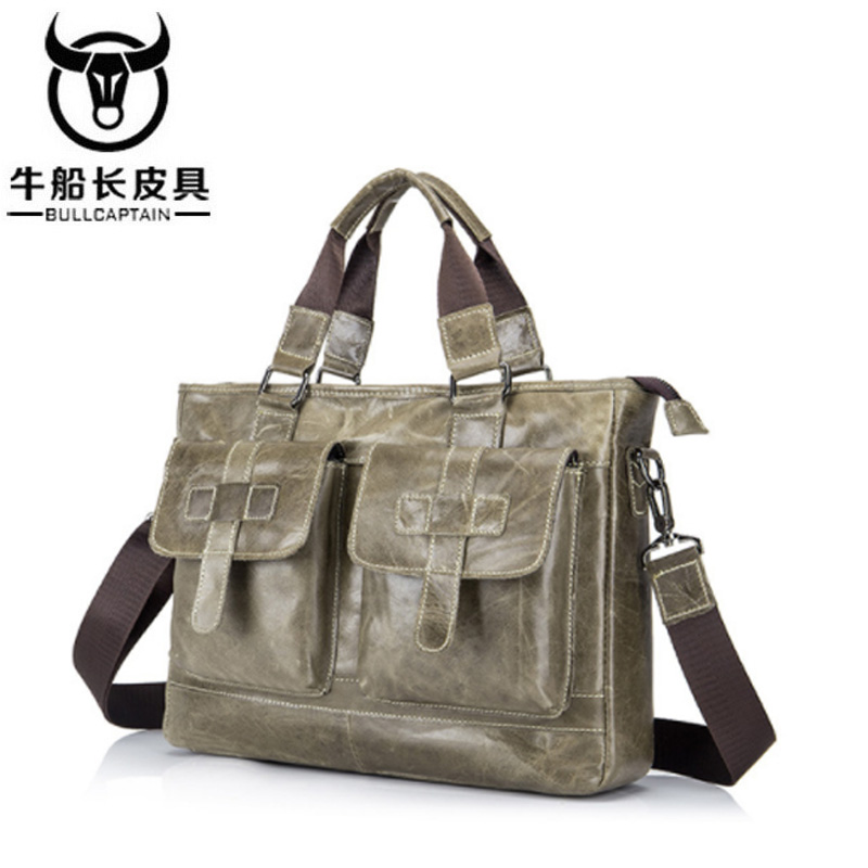 BULLCAPTAIN New Fashion Cowhide Male Commercial Briefcase /Real Leather Vintage Mens Messenger Bag/Casual Business Bag 2 ColorBULLCAPTAIN New Fashion Cowhide Male Commercial Briefcase /Real Leather Vintage Mens Messenger Bag/Casual Business Bag 2 Color