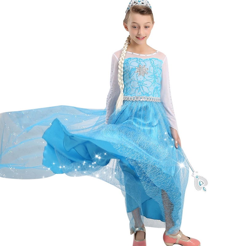 Quality Detachable Cloak Dresses Girls Princess Elsa Cosplay Costume Party Dress Kids Dresses For Girls Clothes Vestido Infantil girl dress summer style elsa hooded cloak party princess tutu vestido infantil dresses kids dresses for girls children s clothes