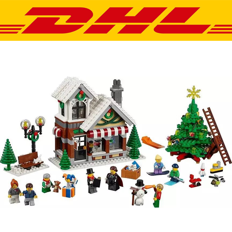 2017 New 945Pcs Winter Toy Shop Model Building Kits Blocks Bricks Toy For Children Gift Compatible Christmas Gifts 10249 jp 945 pcs snow christmas hut house model kits figures building bricks blocks kids fun toys for children compatible 10249