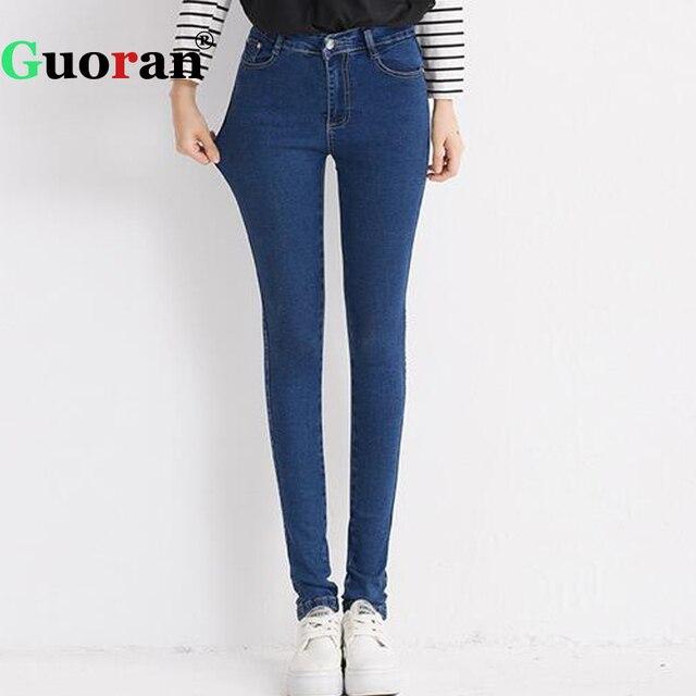 6981e6f592c4 Très Extensible Femmes Jeans Crayon Pantalon Denim Bleu Jeans Leggings  Taille Haute Plus La Taille Femelle