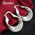 Free Shipping 2016 newest silver plated earings Four Ring hoop brincos de festa collier plastron femme R438