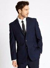 Latest Coat Pant Designs Navy Blue Formal Bridegroom Custom Made Wedding Suit For Men Slim Fit Tuxedo 2 Pieces Masculino C
