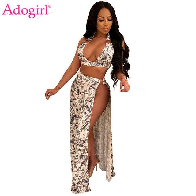 Adogirl Dollars Money Print Women Two Piece Set Dress Halter Bra Crop Top +  High Slit Maxi Skirt Sexy Night Club Party Outfits 41f35fd6295e