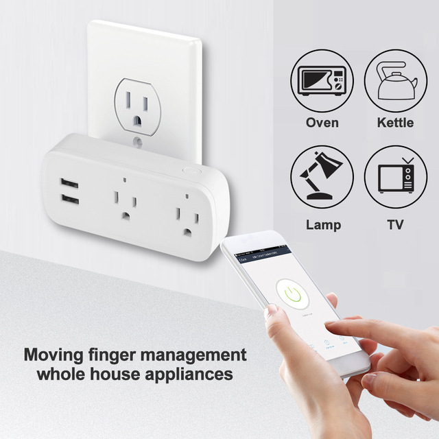 Smart Plug Wifi สมาร์ทซ็อกเก็ต Remote Voice control 2 พอร์ต USB ซ็อกเก็ต Tuya Smart Life App US Plug Alexa Google บ้าน Mini IFTTT