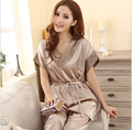Summer 2014 Women Sexy Silk Pajamas Fashion Solid Color Sleep set V-neck Short-sleeves Silk Plus Size Lounge Female Sleep Tops