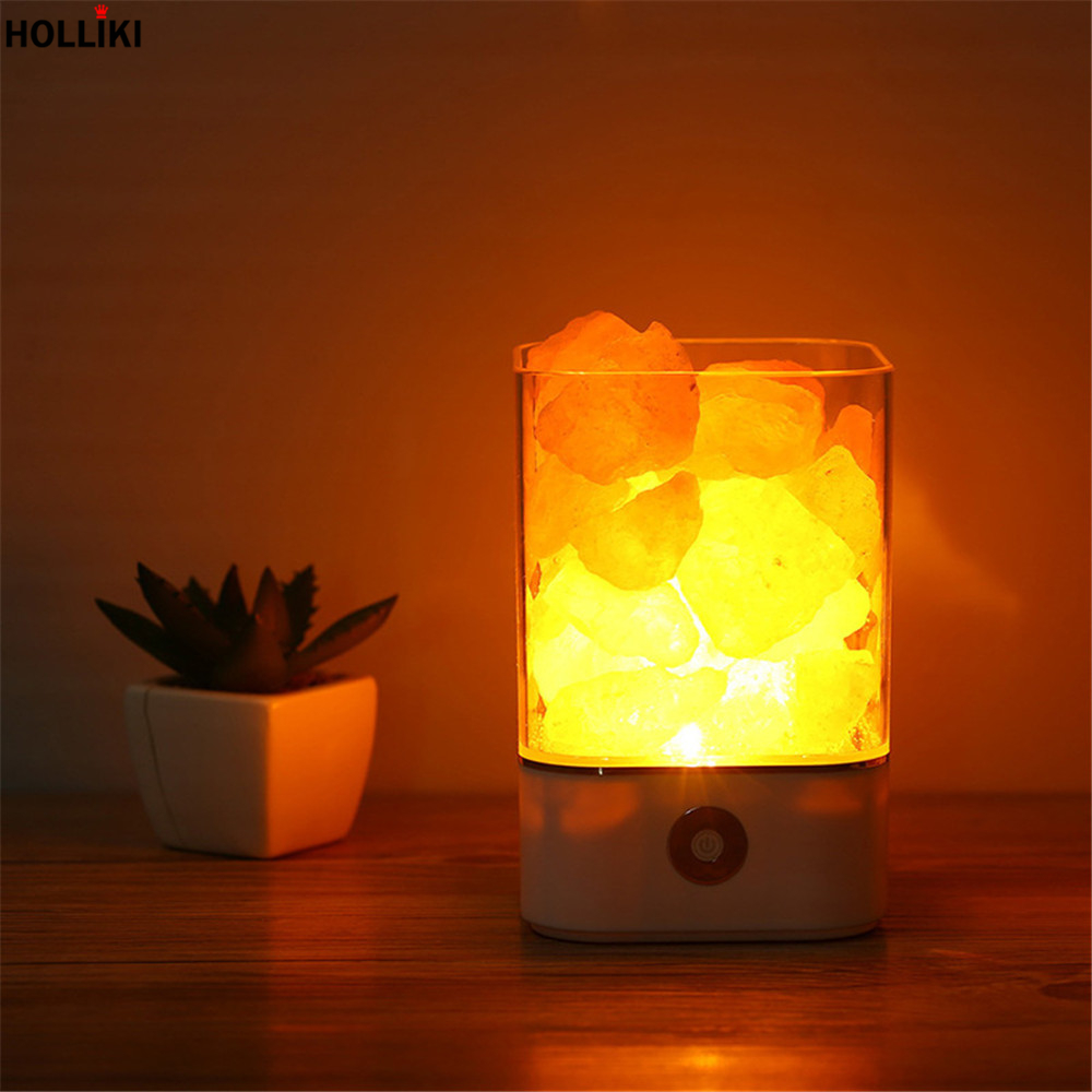 Novelty LED Himalayan Salt Lamp Night Light USB Rechargeable Air Purifier Crystal Salt Rock Bedside Night Lamp For Children Kid oygroup mini hand carved natural crystal himalayan salt lamp night light cylinder shaped illumilite lamp salt light oy17nl02