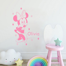 Cartoon Minnie Mouse Customized Name Wall Stickers Girls Personalized Decor Kids Room Nursery Baby Bedroom Decal ZW383