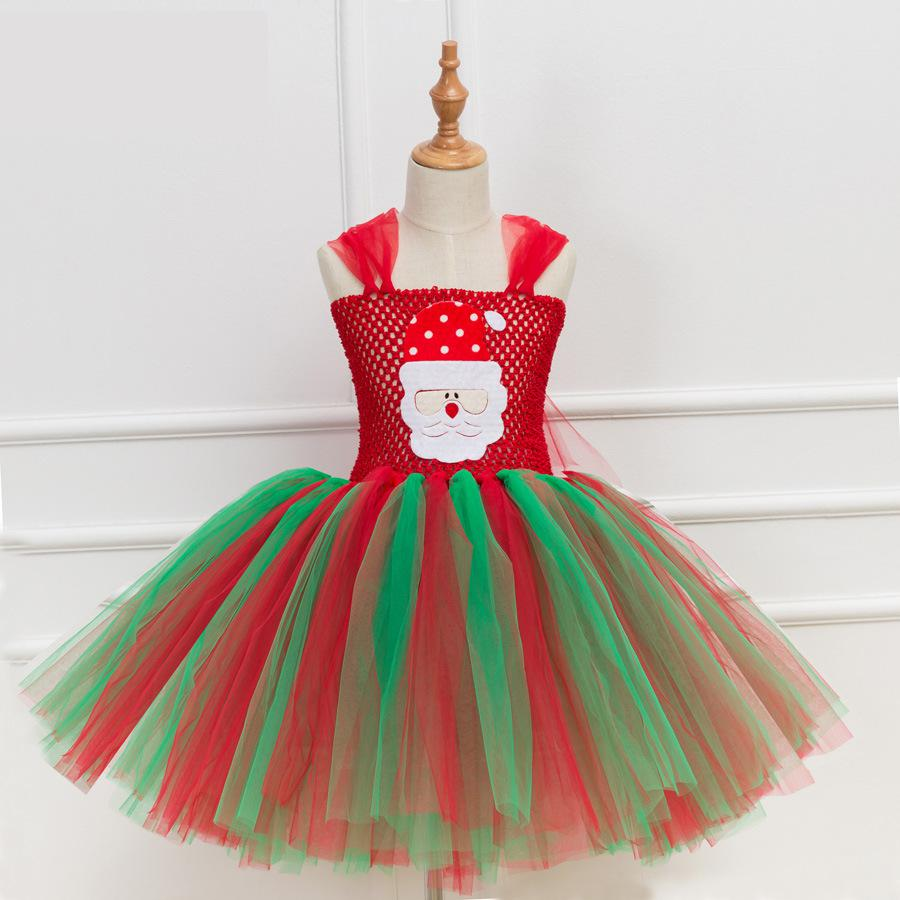 Hot Christmas Tutu Dress Girl Santa Claus Design Lovely Princess Dress Kids Children Party Dress Cosplay Costumes Festival Gifts